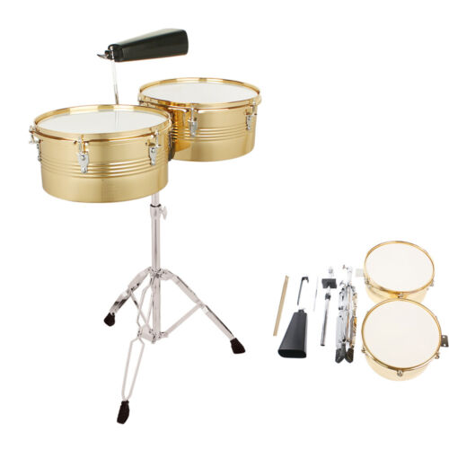 Photo Percussion 13'' & 14'' Timbales Drum Sets Cowbell Holder Stand Drum Sticks Golden