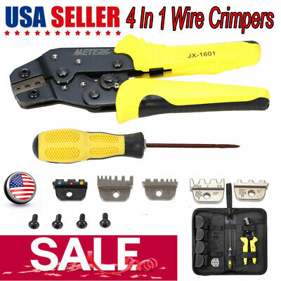 Professional Ratchet Terminal Crimper Wire Crimping Pliers Tool Kit With 4 Dies