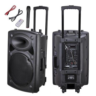 "1500W 15"" Portable Remote Audio PA Speaker w/ Bluetooth USB Wireless microphone"