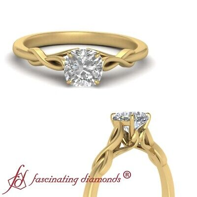 3/4 Carat Cushion Cut Diamond Infinity Twist Engagement Ring In 18K Yellow Gold