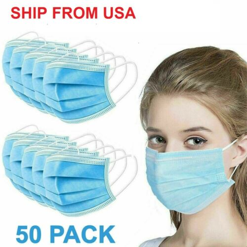 Face Mask (50 pcs) PROTECTIVE MASK (SHIP FROM USA)