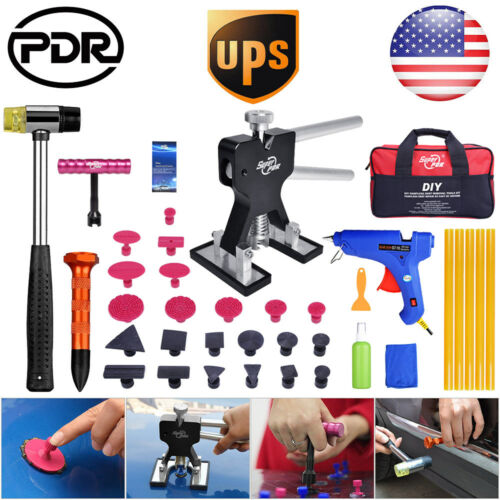 PDR Paintless Dent Repair Removal Tools Dent Lifter Puller T Bar Tap Down Kit