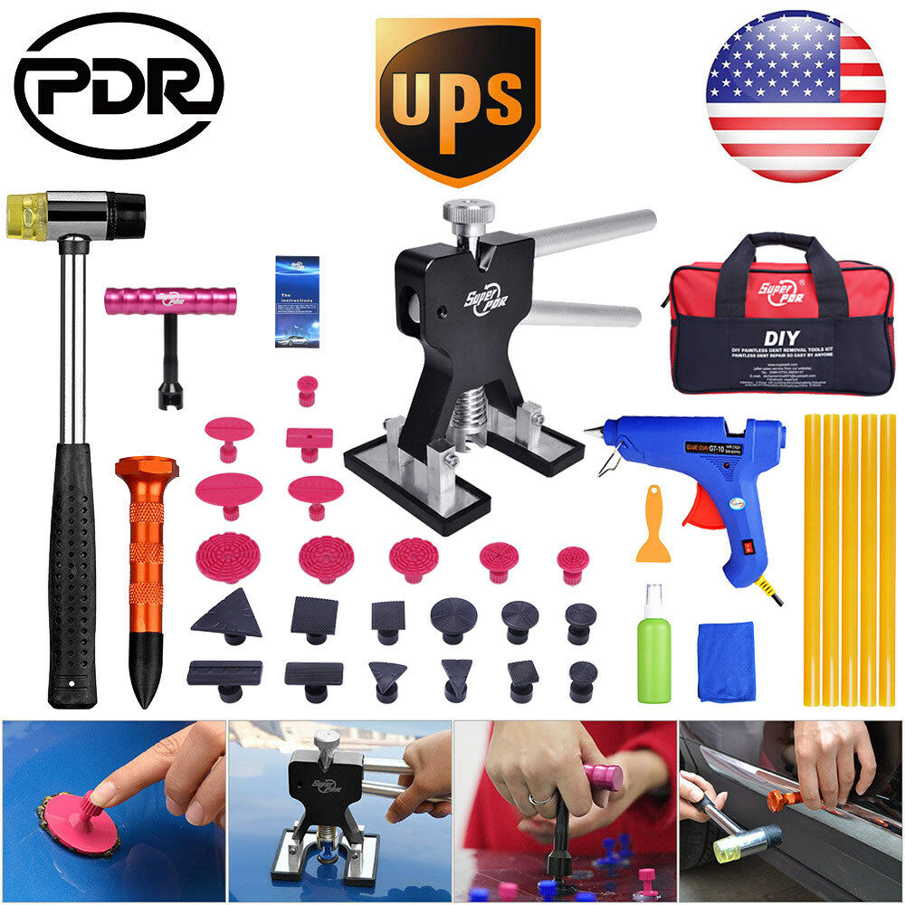 US PDR Paintless Dent Repair Removal Tools Dent Lifter Puller T Bar Tap Down Kit