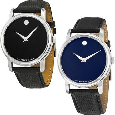 Movado Museum Black Leather Strap Mens Watch - Choose color