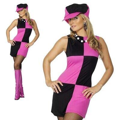 Swinging 60s Mod Damen Rosa Schwarzes Kostüm Kostüm - 60's Mod Kostüm