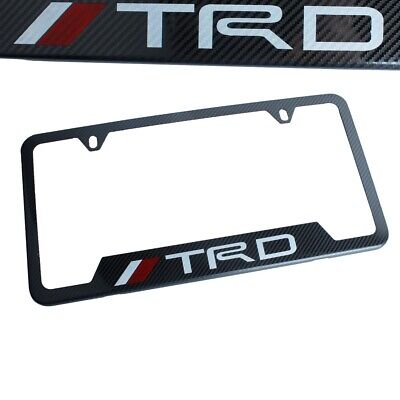 1PCS TRD Carbon Fiber Look License Plate Frame Stainless Steel Metal for TOYOTA