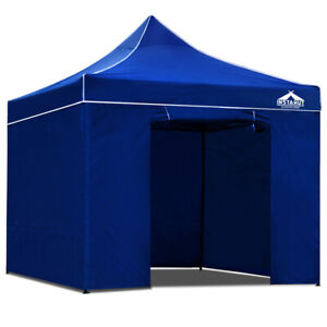 3 x 3m Pop Up Gazebo Hut with Sandbags Canopy Shade Outdoor Camping - Blue