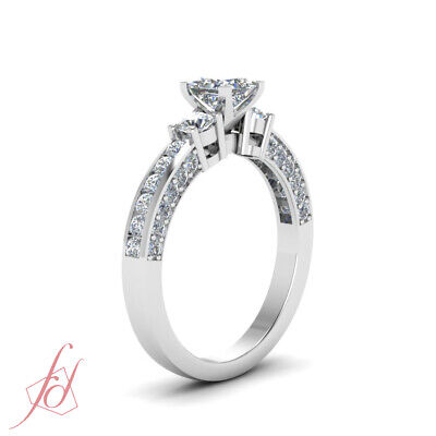 Engagement Ring Channel Set 1.40 Ct Princess Cut Untreated Diamond GIA Certified 2