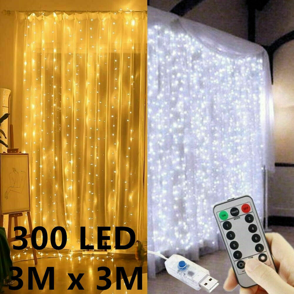 300 LED Curtain Lights String 3m*3m USB Powered Waterproof Twinkle Wall Lights Home & Garden