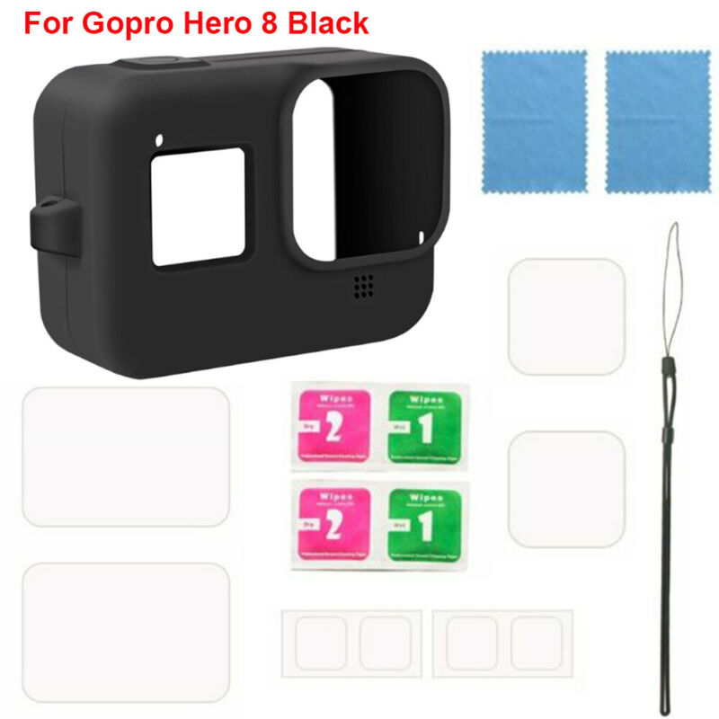 Protective Silicone Case for GoPro Hero 8 Black Tempered Glass Screen Protector