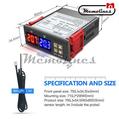 Digital Stc-3018 12v 24v 110v-220v Temperature Controller Thermostat Temp Sensor