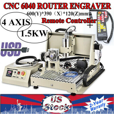4 Axis Usb 6040 Cnc Router Engraver Engraving Machine 1.5kw Wood Pvc 3d Cutter