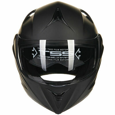 Matte BLK Full Open Face Modular Flip Up Dual Visor DOT Motorcycle Street Helmet