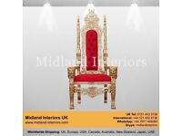 NEW Lion King Queen Wedding Throne Chair - Gold & Red - Luxury Asian French Italian Chic Furniture