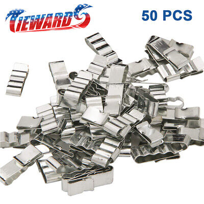 50pcs 34mm Stainless Steel Trailer Frame Cable Clamp Wire Clips