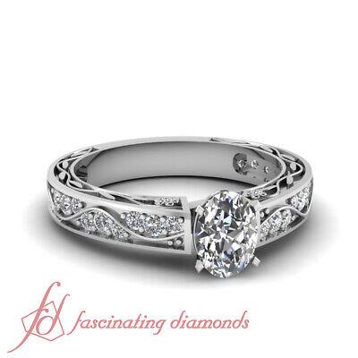 1.10 Ct White Gold Oval Diamond Engagement Rings For Women V
