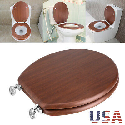 Deluxe Elegant Round Toilet Seat, Adjustable Hinges,Red-Brown / (Deluxe Wood Toilet Seat)