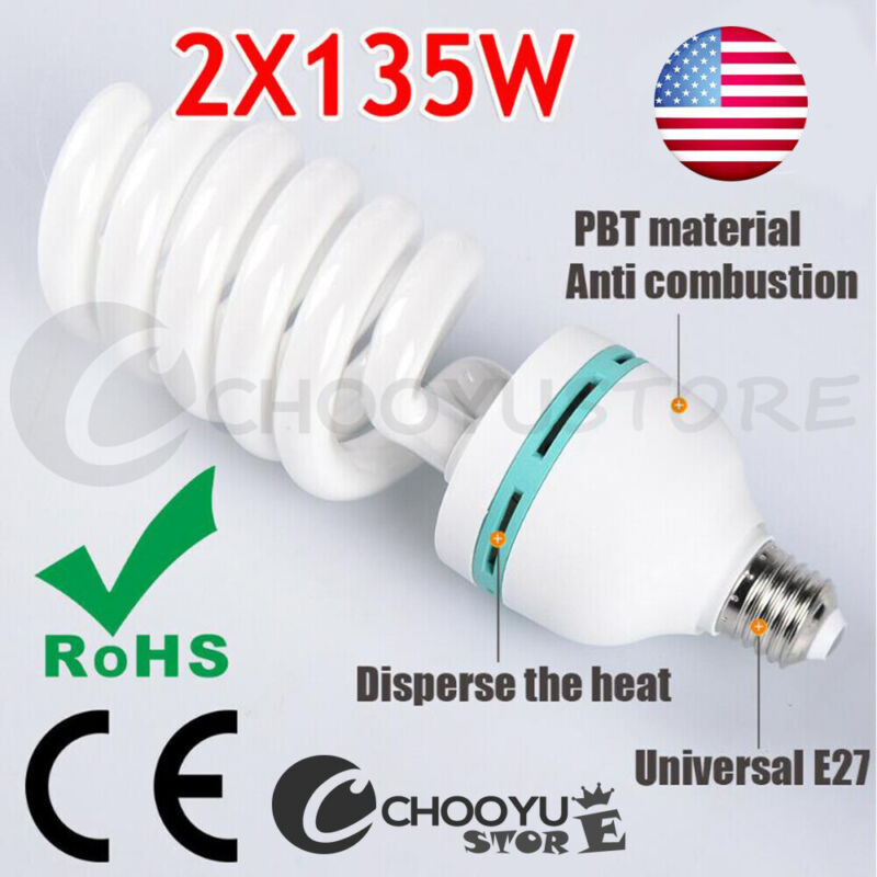 2X675W 5500K Photo Studio E27 Energy Saving Light Bulbs Daylight CFL Light Lamp