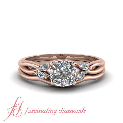 14K Pink Gold 3/4 Carat Cushion Cut Nature Inspired Wedding Ring Set GIA