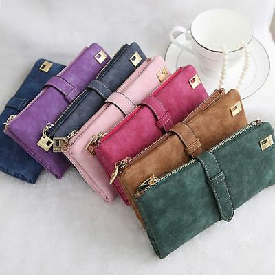Womens Ladies Suede Leather Clutch Wallet Long Card Holder Case Purse Handbag US