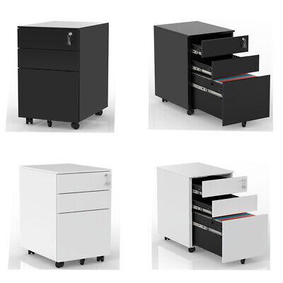 3 Drawer File Cabinet Metal Mobile Lockable Filing Cabinet Storage Desk Lockable