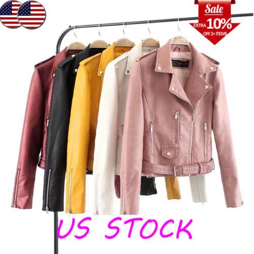 Women's Faux Leather Lapel Asymmetrical Zip Belted Jacket Co