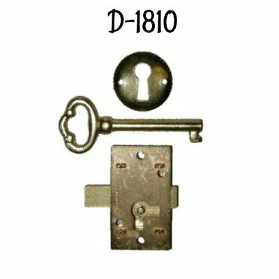 - Furniture Lock Economy Flush Mount Lock Set - Brass Plated Antique Style