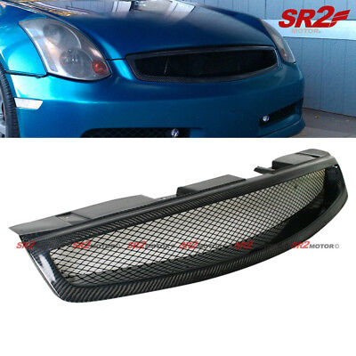 - Real Carbon Fiber Front Hood Mesh Grill Grille fits 03-07 Infiniti G35 Coupe