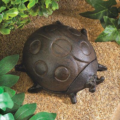 "small 4"" iron LADYBUG emergency Key keeper hider outdoor security Garden Statue"