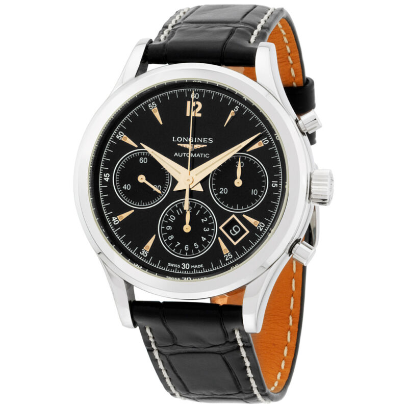 Longines Flagship Heritage Automatic Chronograph Black Dial Men's Watch 27504560 - watch picture 1