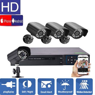 New 4-Channel 960H DVR Outdoor Waterproof IR Night Vision Camera Security System