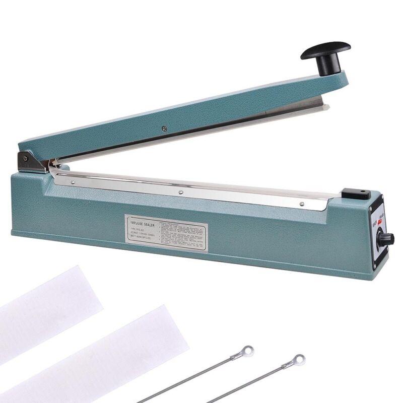 "16"" 400mm Impulse Manual Hand Heat Sealer Machine Poly Plastic Bag w/ Elements"
