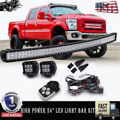 """High Power 54""""  Curved LED Light Bar+Wiring Kit  For Ford F250/350 Super Duty"""