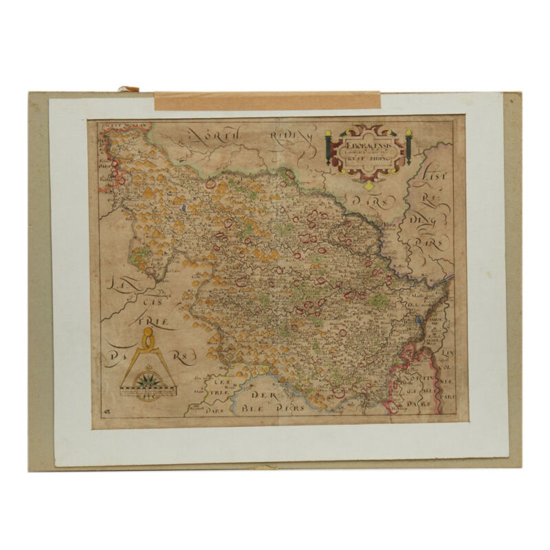 SAXTON & HOLE ENGRAVED WEST RIDING YORKSHIRE MAP 1610