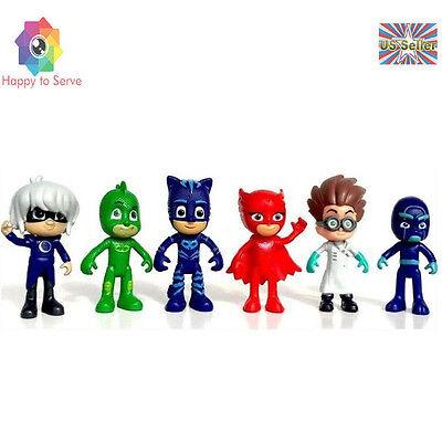 Pj Mask Super Characters Catboy Owlette Gekko 6 PCS Action Figure Toy #