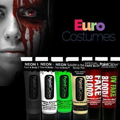 Paintglow Halloween Face & Body Paint Make Up Kit UV Reactive Torch Fake Blood