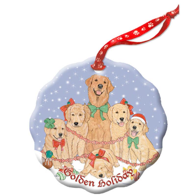 Golden Retriever Holiday Porcelain Christmas Tree Ornament