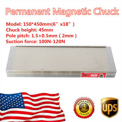 New Permanent Magnetic Chuck For Grinding Machine 6x18 Inch Dense Table Us Stock