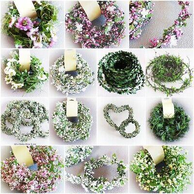 Girlande Buchsbaum Blüten Blumen Beeren Draht Deko Blatt Girlande weiß rosa grün