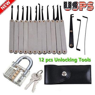 US Hook Pick Set 12Pcs Unlocking Kit Pick Key Cutaway Practice With Tools Bag