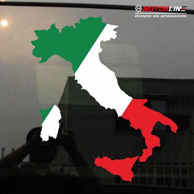 Flag Map of Italy Italia Italian Car Sticker Vinyl Decal choose size 4'' 5'' 6''
