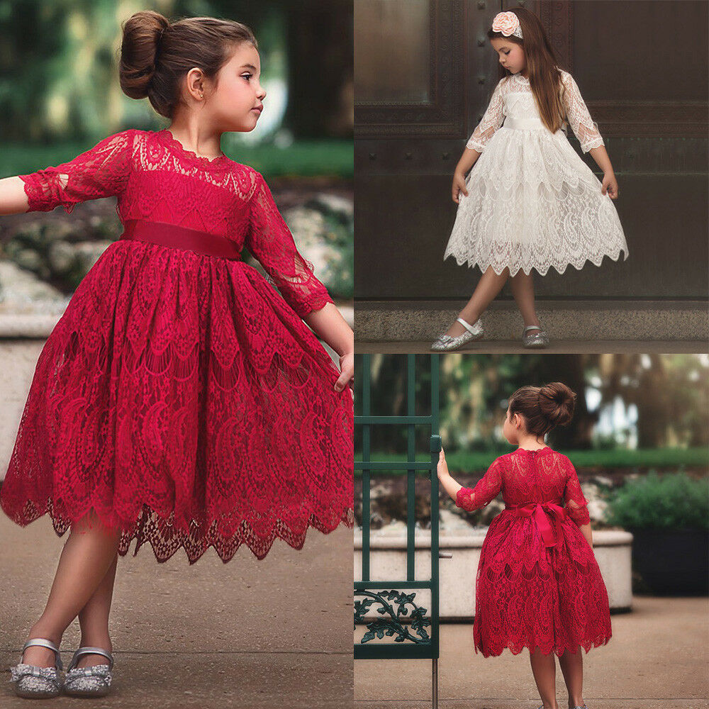 Toddler Kids Baby Girl Lace Flower Princess Tulle Party Pageant Dresses Clothes