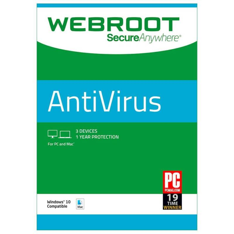 Webroot SecureAnywhere AntiVirus (3-Device) (1-Year Subscription) Mac|Windows 8112495