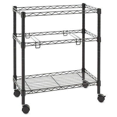 Alera Two-tier Rolling File Cart 26w X14d X 29-12h Black Fw601426bl New