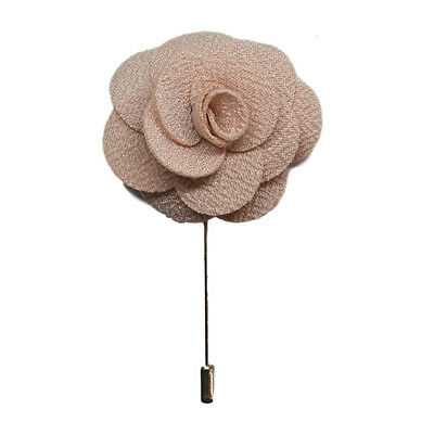 Beige Handmade Flower/Rose Lapel Pin for wearing with men's suit jacket, blazer,