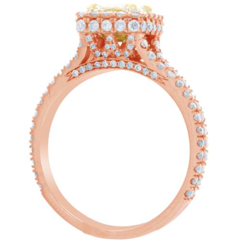 2 Carat GIA Certified Fancy Yellow Cushion Diamond Engagement halo Ring Platinum 8