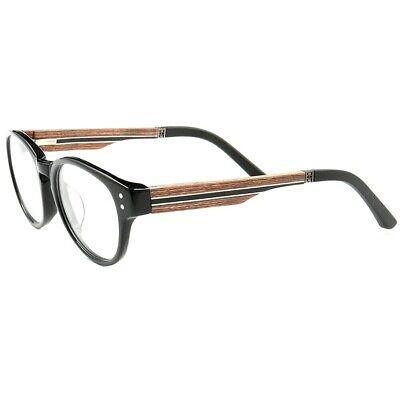 Full Rim Round Wood Eyeglass Frames Mens Womens Wooden Rx Glasses (Wooden Eyeglass Frames)