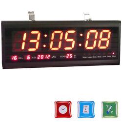 3-color Digital  Big Large Digits LED Wall Desk Clock with Calendar Temperature