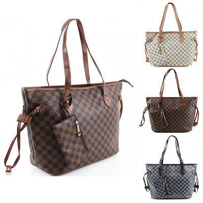 Fashion Tote (Womens Large Checkered Fashion Tote Handbag Hobo Shopper Shoulder Bag+ Purse)