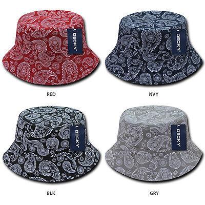 Paisley Bandana Print 100% Cotton Bucket Hat - Bandana Bucket Hat